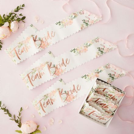 "Floral & Rose Gold ""Team Bride"" Sash x 6"